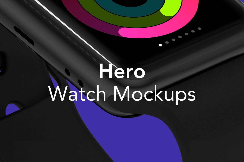 时尚高端的高品质特别角度iWatch Mockups UI样机展示模型mockups(PSD&SKETCH) HERO iWatch Mockups