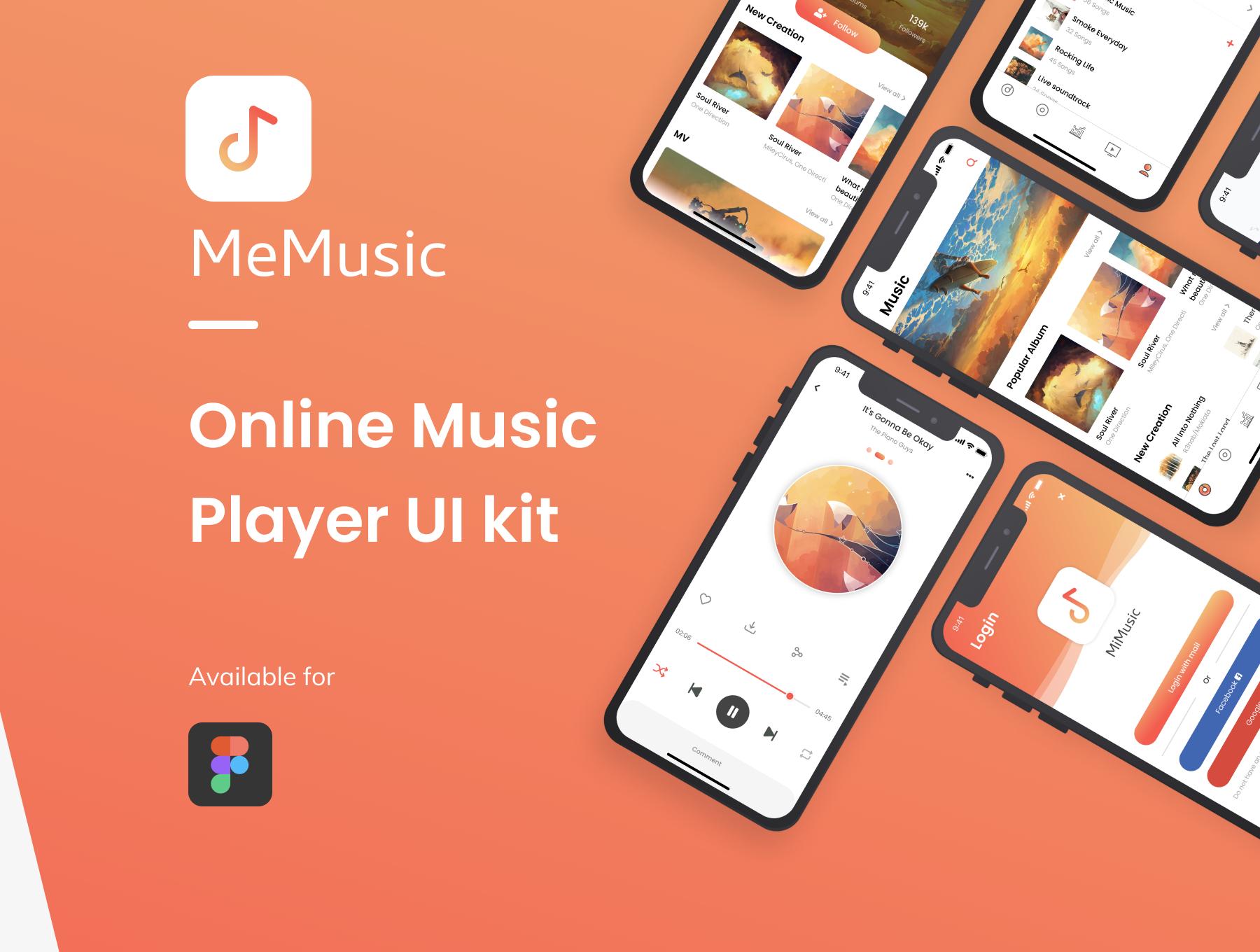 在线音乐播放器音乐媒体app设计iOS Ui套装下载[XD] MeMusic Online Music Player Mobile App UI Kit