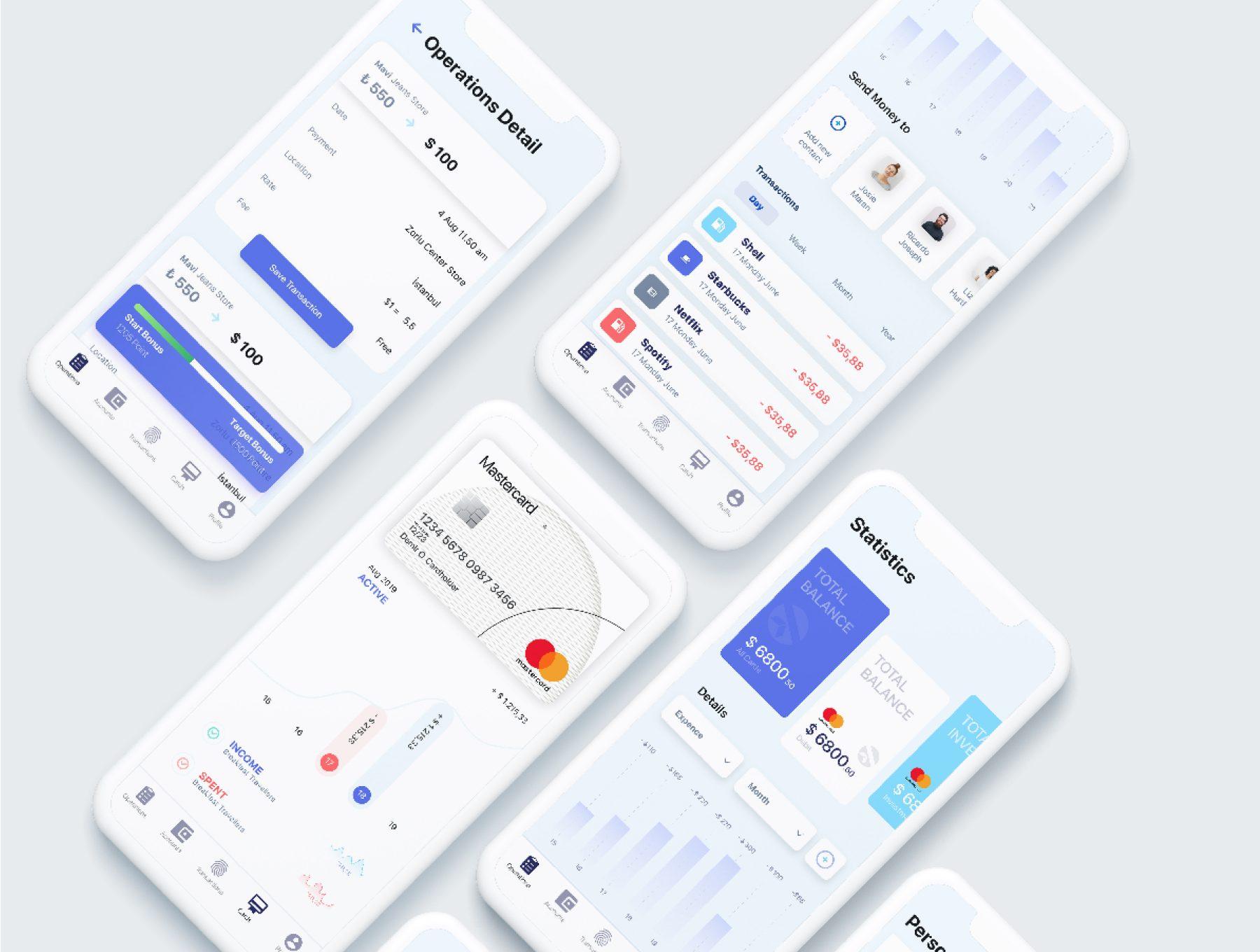 个人钱包理财金融类网银app设计iOS Ui KIT套装下载[Sketch,XD,fig] Liquid Wallet iOS Finance App