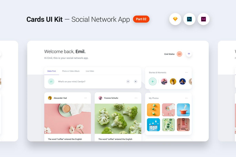时尚独特现代社交网络应用程序组件屏幕模板 Cards UI Kit UI Kits