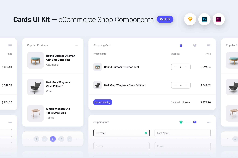 浅色版卡片式电商购物组件Ui组件 线框图element ui Cards UI Kit - E-Commerce Shop Widgets & Components by PanoplyStore - Part 9