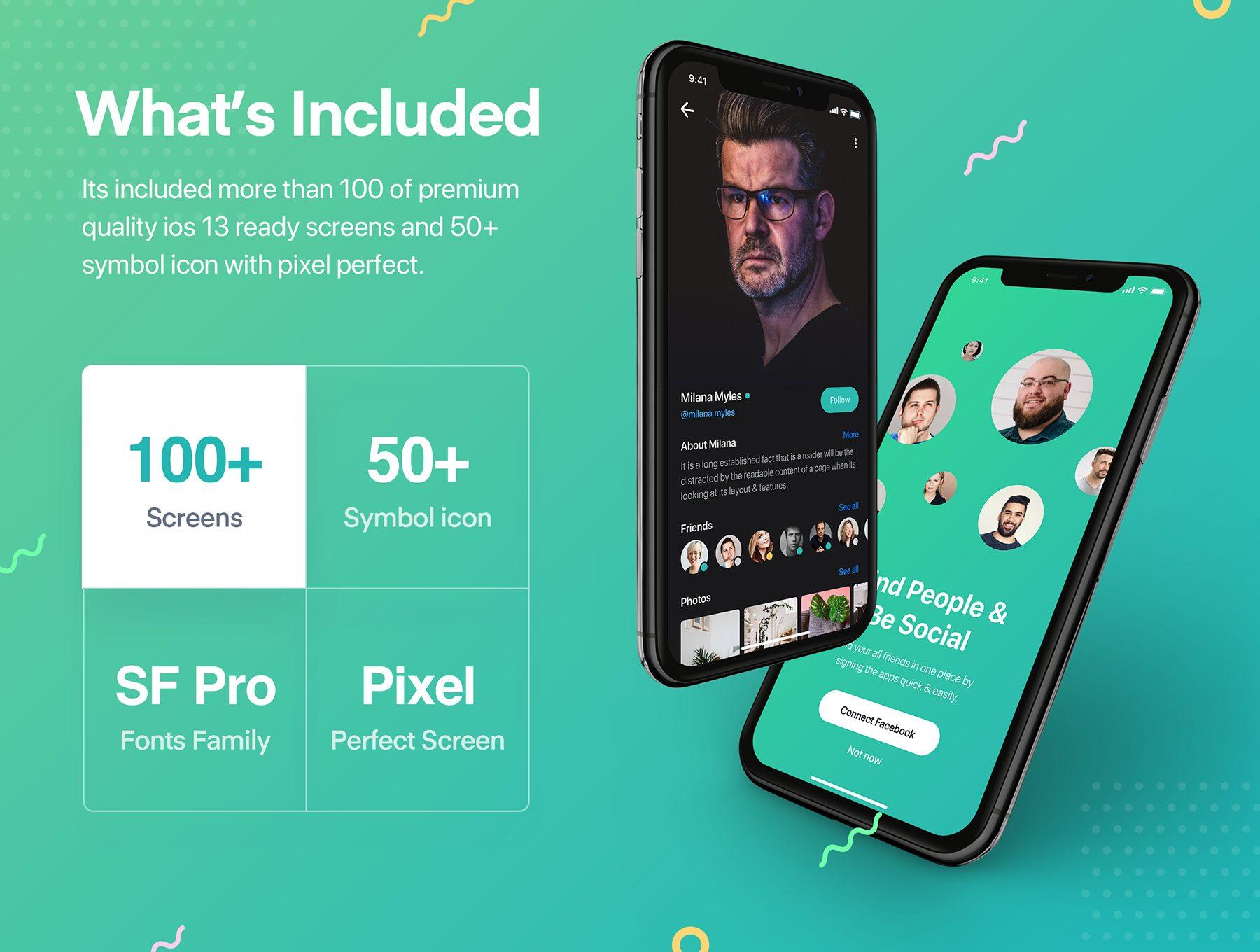 精美的社交应用产品app界面设计iOS Ui套装模板下载[Sketch,XD] Sophie Messaging app ui kit