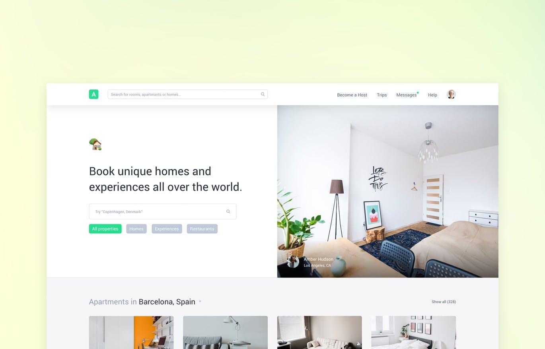 Airbnb功能的名宿预订官方网站UI KITS(sketch) clone-ui-kit-home-booking-like-airbnb