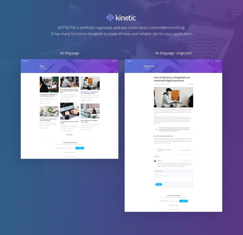 时尚高端应用程序登陆页面PSD设计模板 kinetic-app-landing-one-page-psd-template
