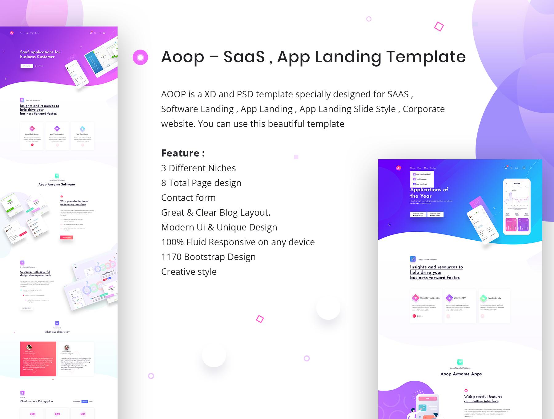 登陆页官网网站模板下载 ui网页 ui网页设计[PSD] Aoop - SaaS & App Landing Template(psd) APP