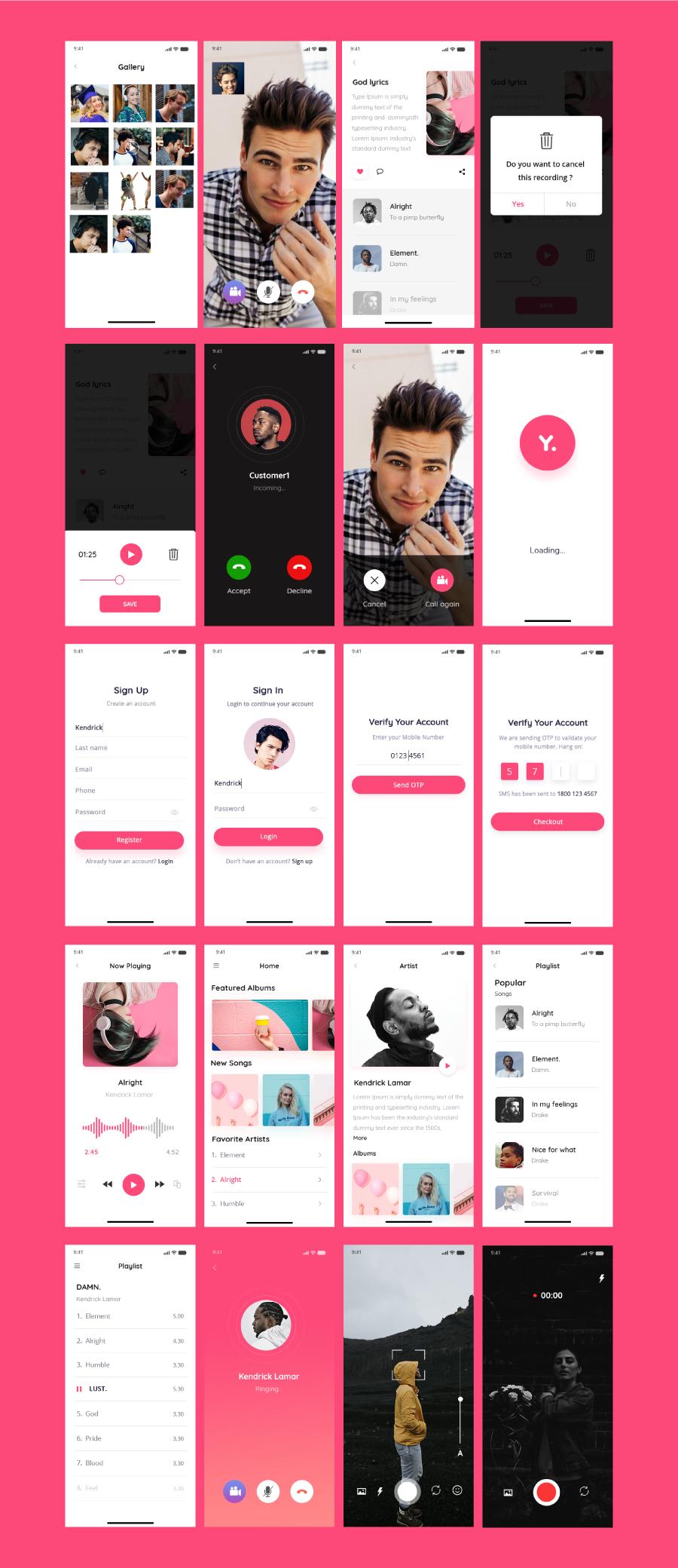 时尚高端多用途的多媒体移动应用APP UI KITS yolo-multimedia-mobile-app-ui-kit