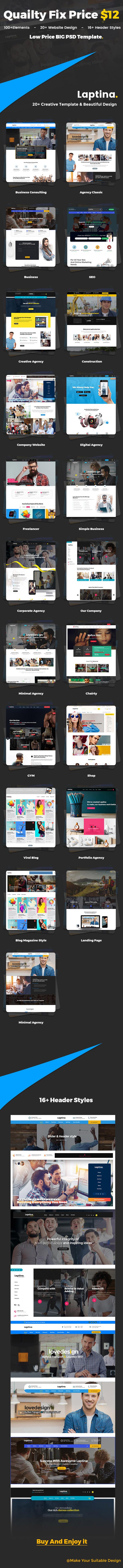 高品质的时尚多用途完美的金融咨询和商业商务网站设计模板(psd) laptina_psd