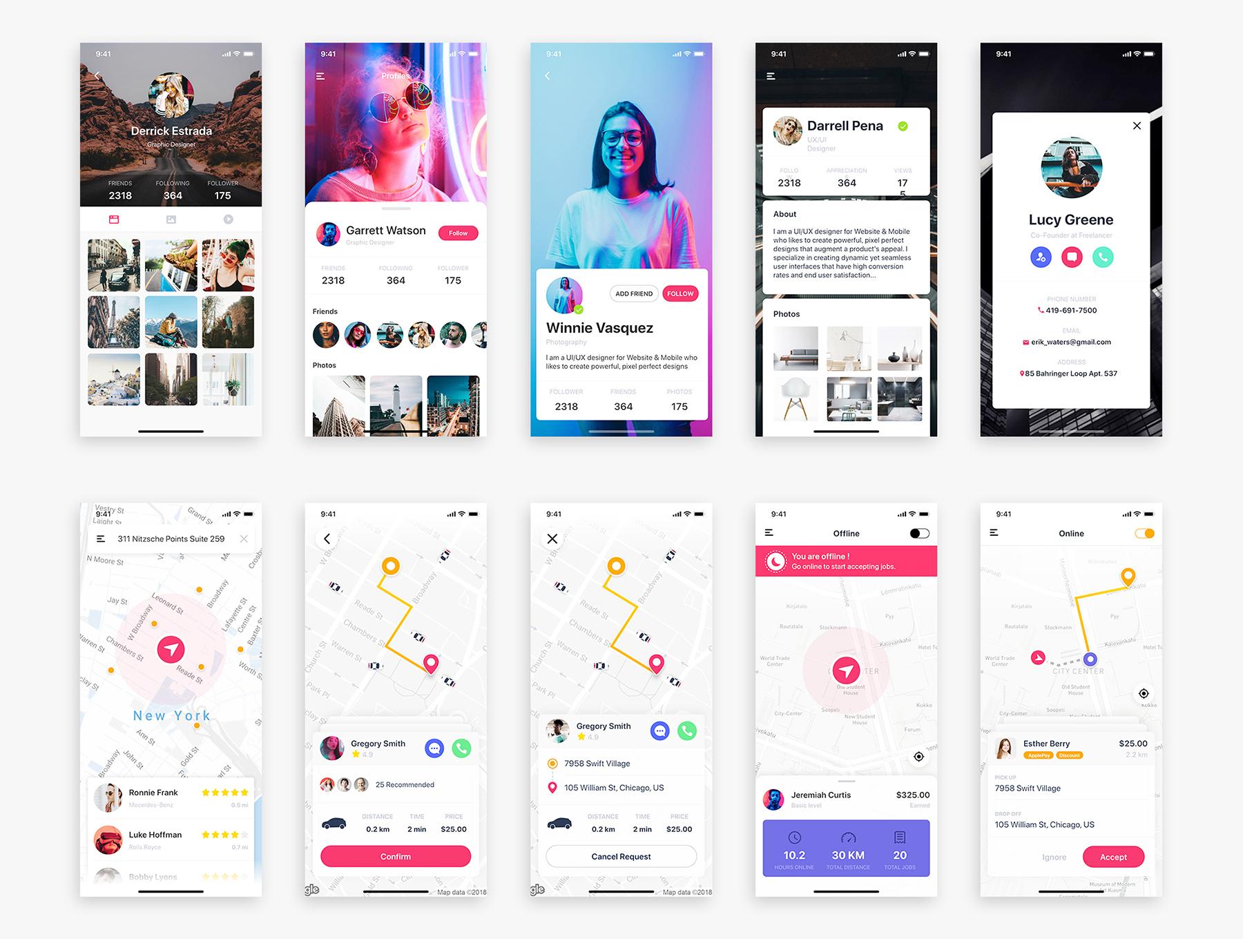 大数据手机仪表盘数据图表UI KIT模板 iOS Ui app设计 app界面设计[Sketch,XD,Fig] Caser UI Kit