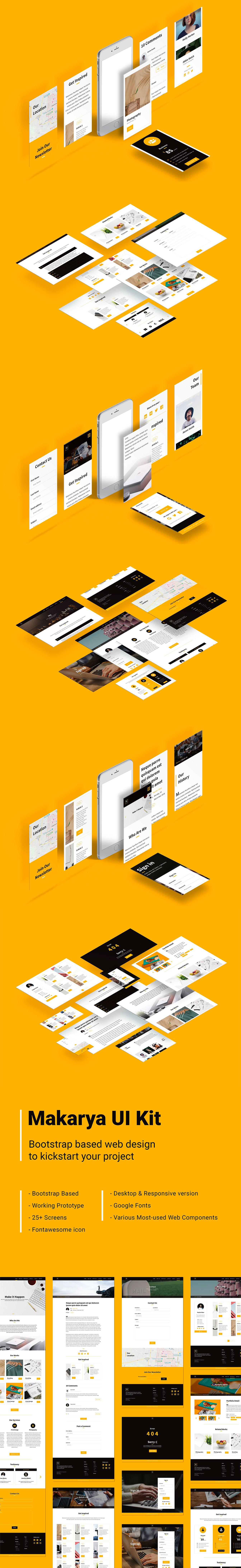 现代多功能响应式网站 WEB UI KIT 模板下载[XD]Makarya UI Kit  Desktop & Responsive Website + Prototype
