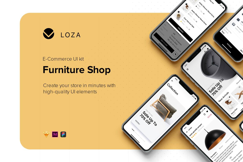 现代高端简约多用途的高品质宜家风格家居APP UI KITS(sketch)furniture-shop-mobile-app-ui-concept