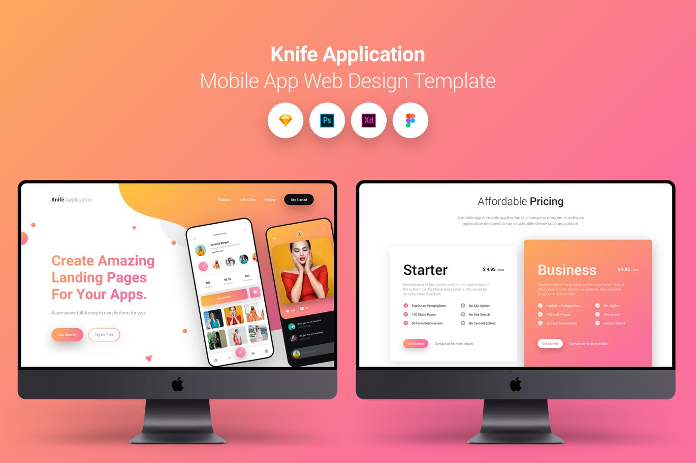 时尚高端多格式APP UI应用程序移动应用程序登陆页面Temlate Knife Application - Mobile App Landing Page Template by PanoplyStore