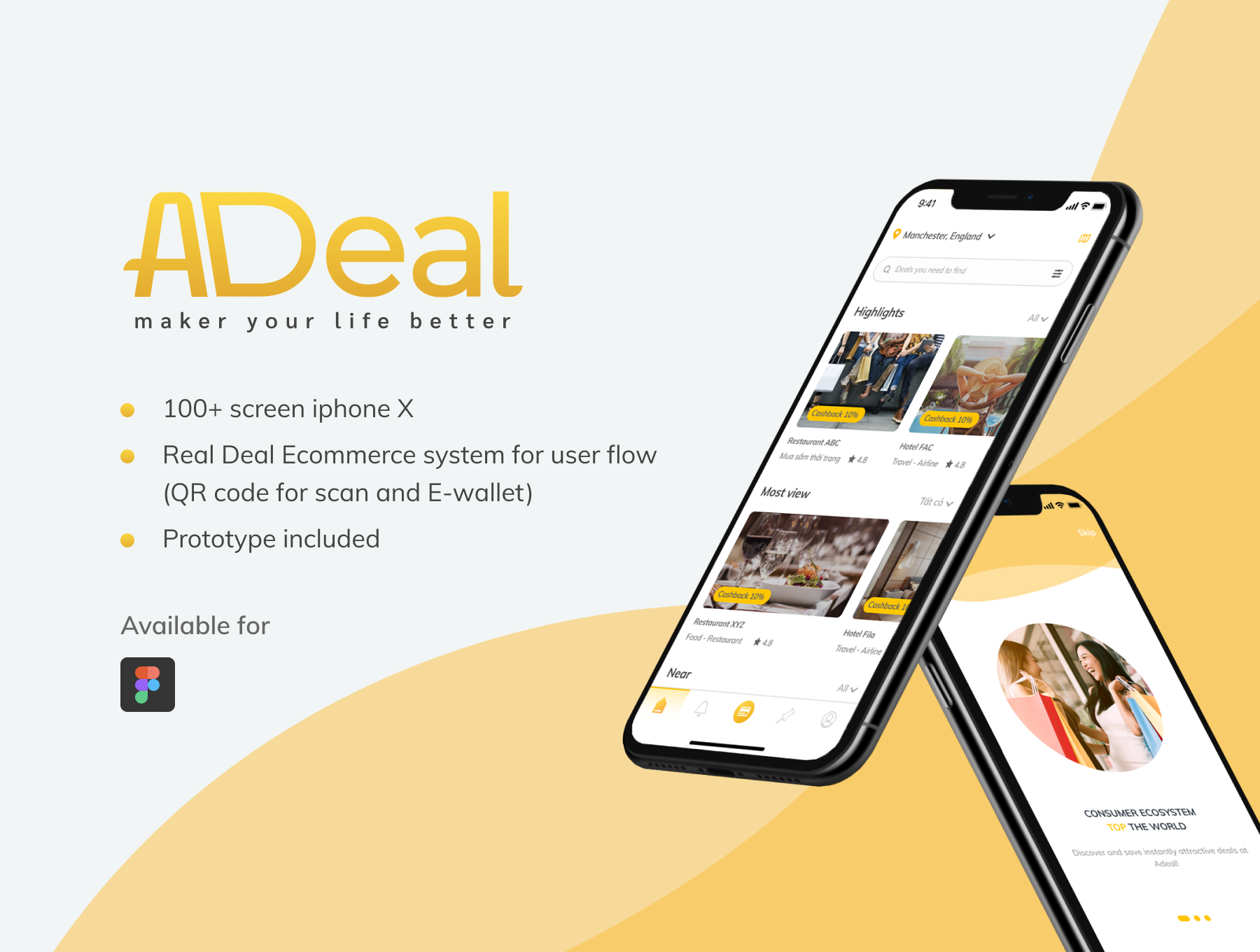 电商APP UI kit套装下载 iOS Ui app设计 app界面设计[Fig] Adeal - Deal Location Ecommerce UI Kits