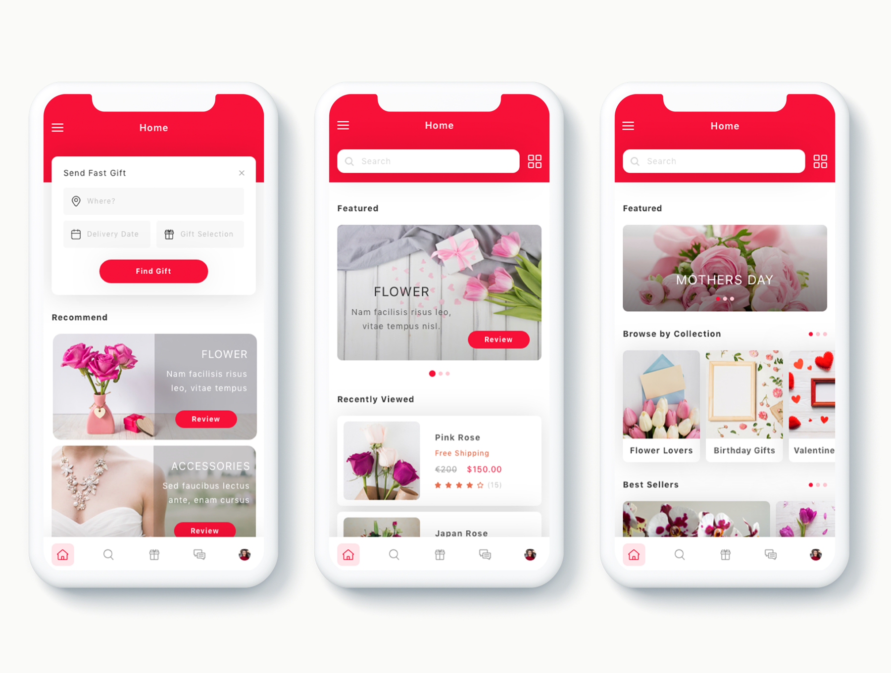 鲜花礼物礼品APP UI平台设计模板套装下载[Sketch,XD] Zambak Gift and Flower Delivery App UI Kit