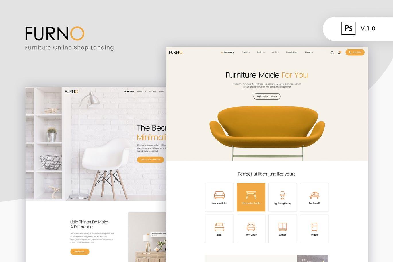高品质PSD格式分层文件极简主义现代家具网上商店 Furno - Furniture Online Shop Landing UI Kits