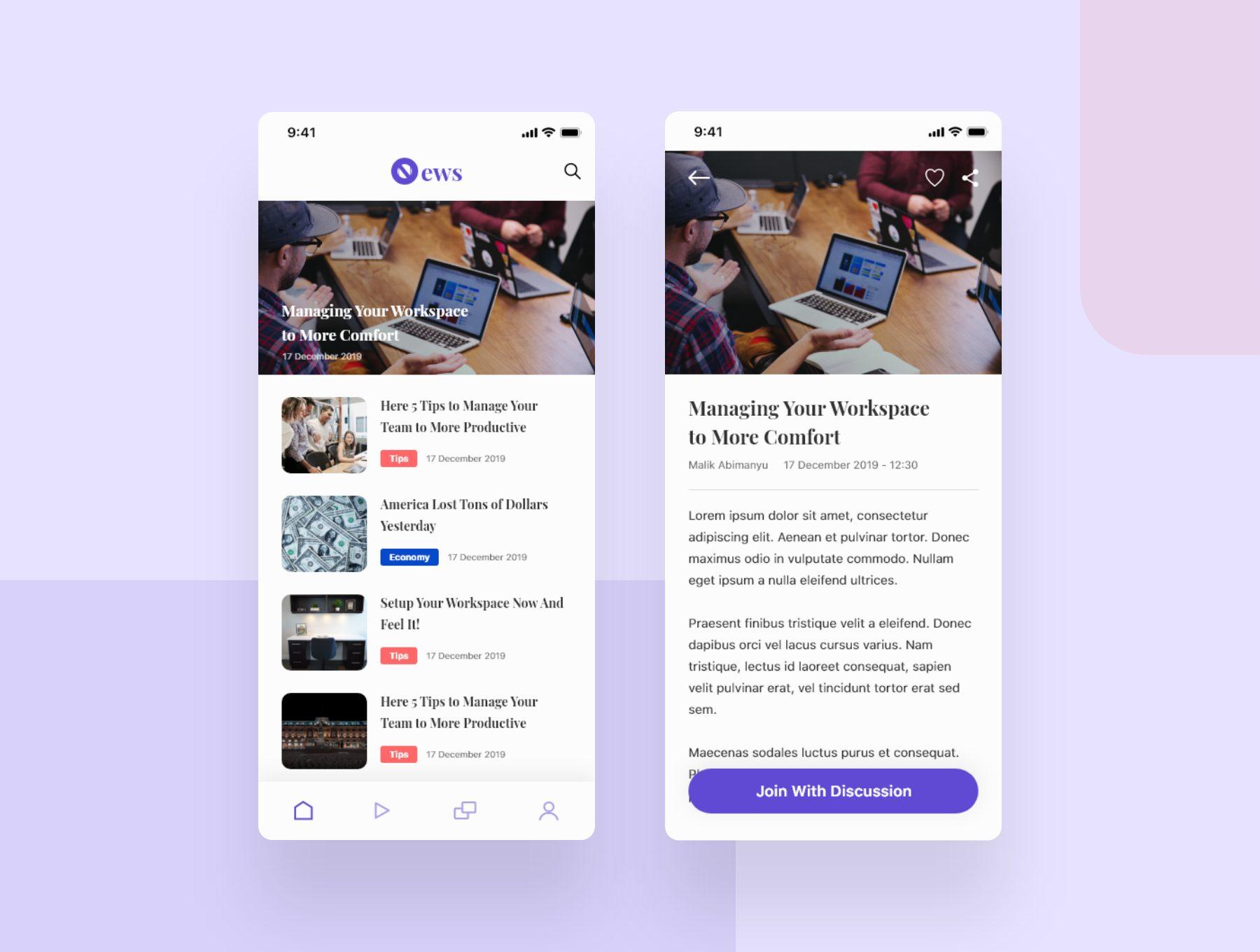 现代简约风新闻资讯阅读app设计iOS Ui套装下载[XD] Beritax News App UI Kit