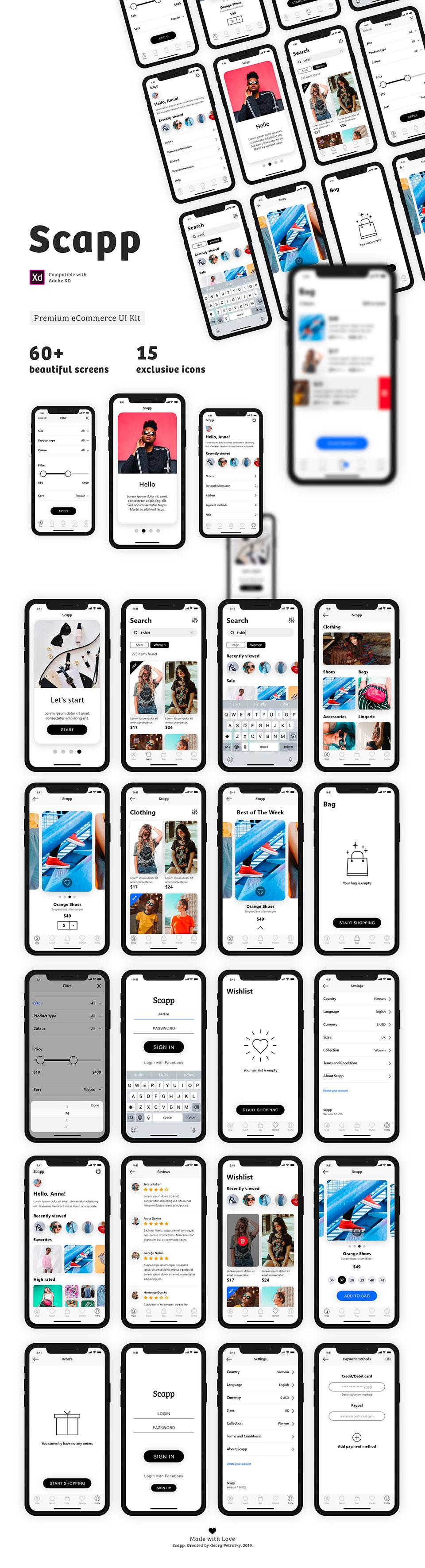 黑白简约百搭时尚风格的APP ui设计 app界面设计 套装下载[XD] Scapp — eCommerce Premium UI Kit - imaxk
