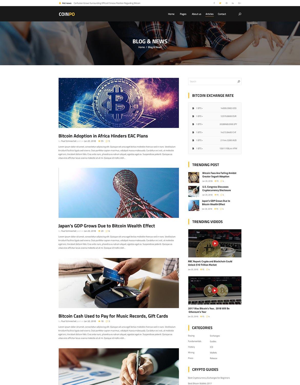 区块链比特币和加密货币大数据网站设计PSD模板 coinpo-bitcoin-crypto-currency-psd-template