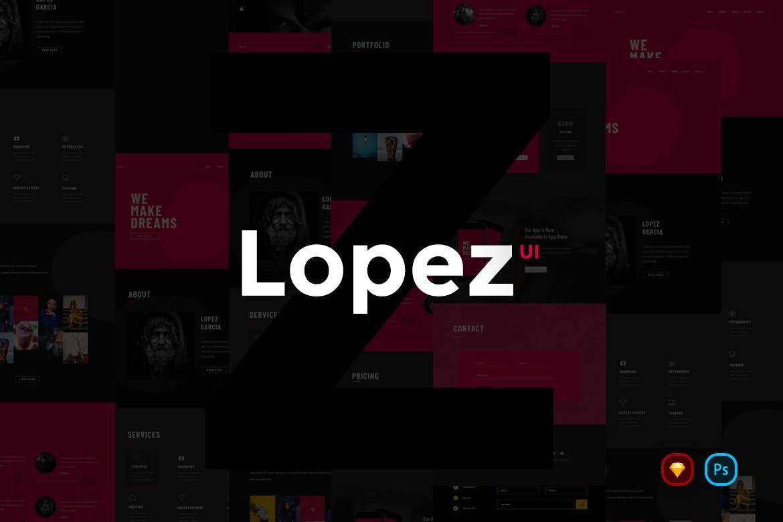 时尚创意的高端网站UI KITS Lopez