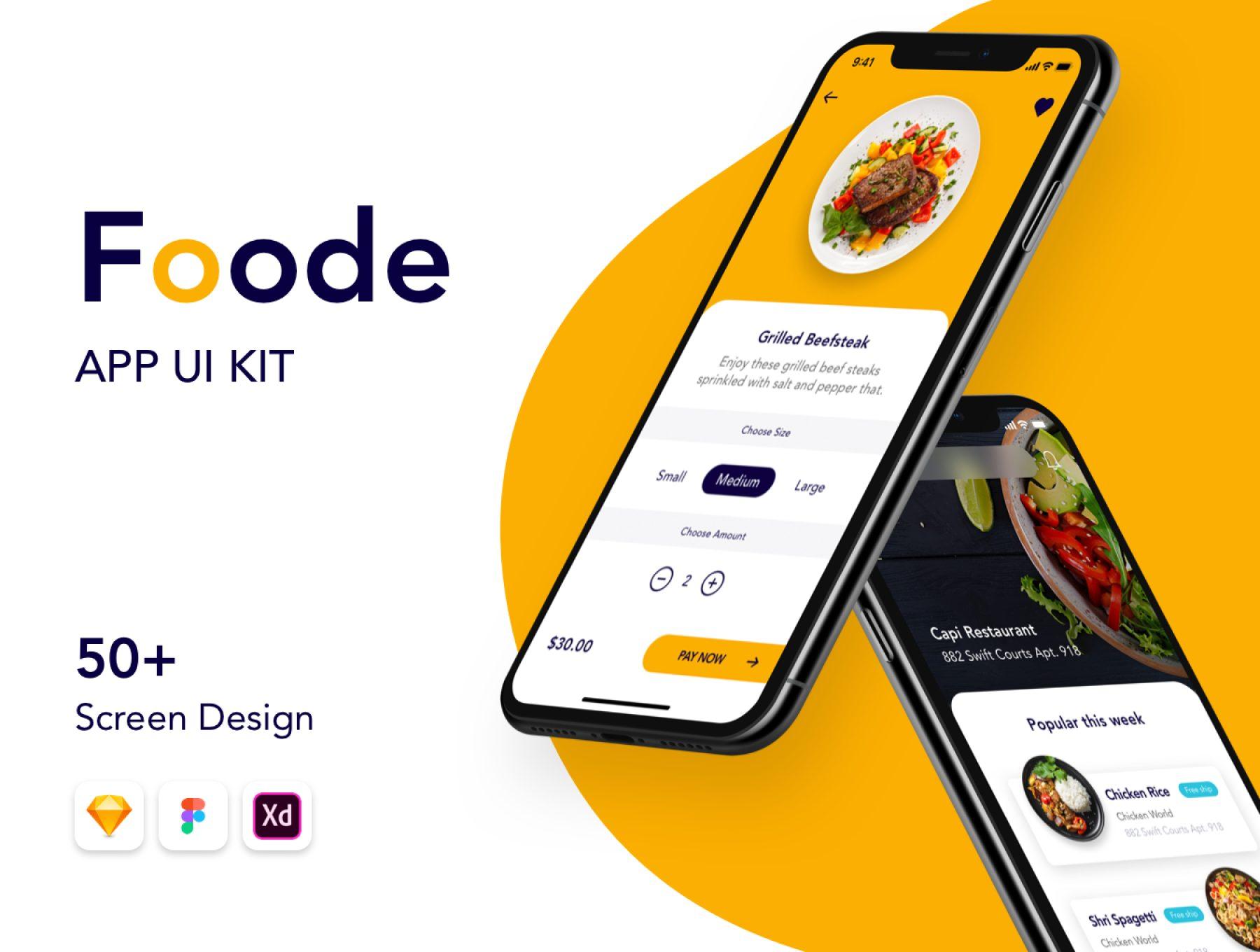 最强的美食点餐订餐APP UI套装下载 iOS Ui app设计 FOODE Ui Kit