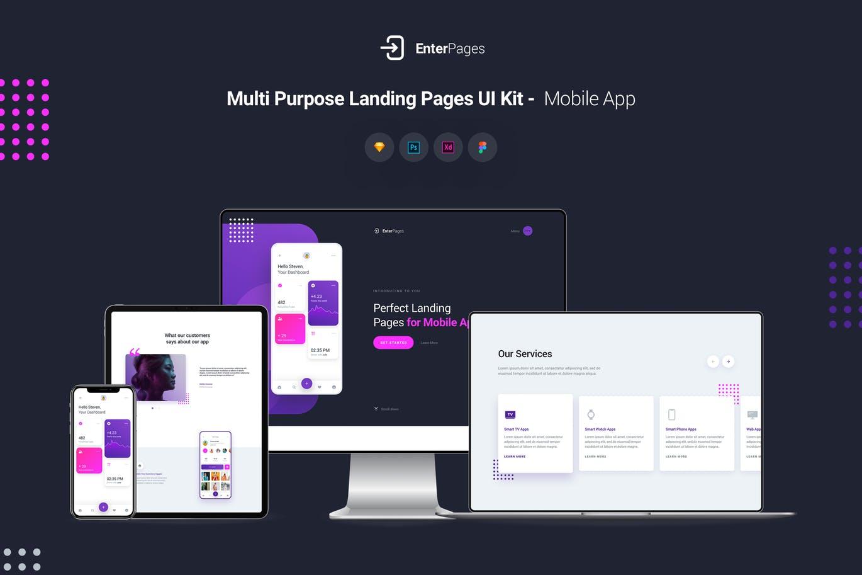 简约时尚高端多用途高品质banner着陆页UI KITS EnterPages - Multi Purpose Landing Pages UI Templates by PanoplyStore - 1