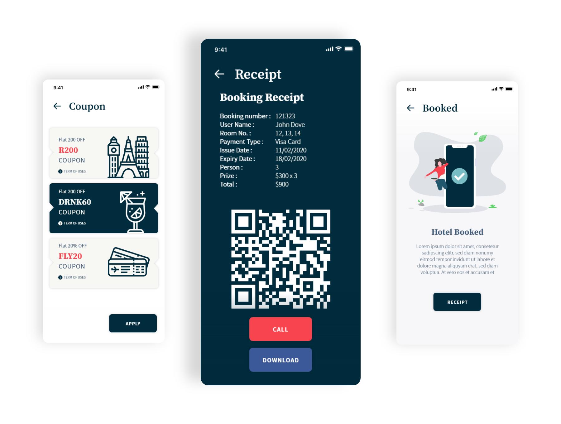 酒店预订app设计iOS Ui套装下载[XD] Volio - Hotel booking, restaurant and real estate app