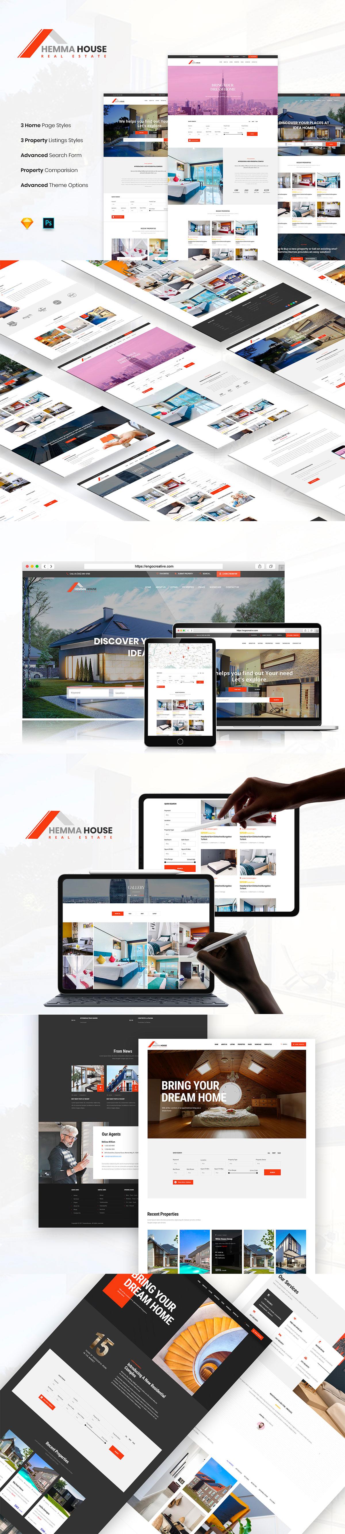 高端时尚的房产中介网页 UI KIT 模板下载 [Sketch,PSD] Hemma House