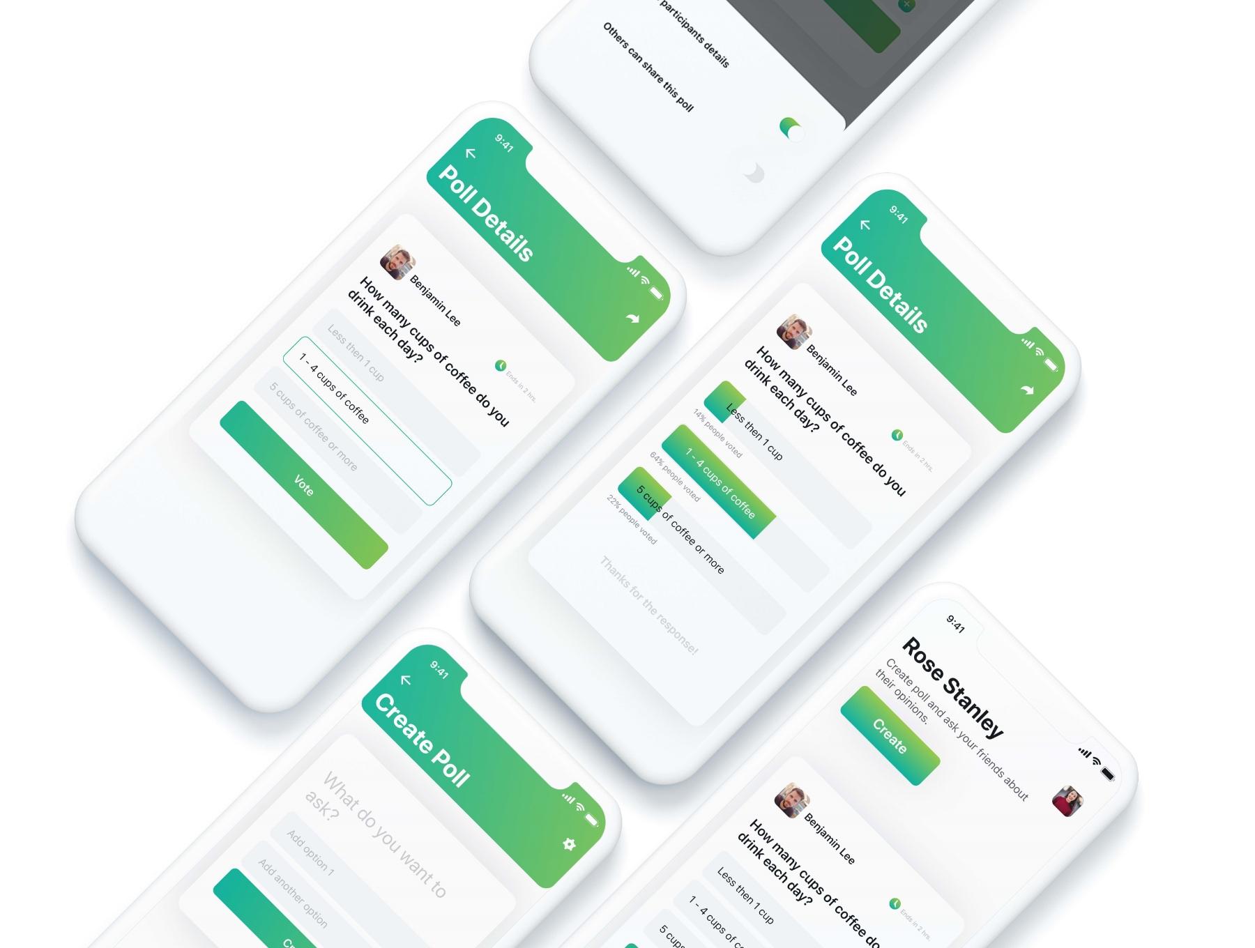 网页APP投票UI KIT套装下载[XD] Adobe XD CC Online Poll UI Kit H5