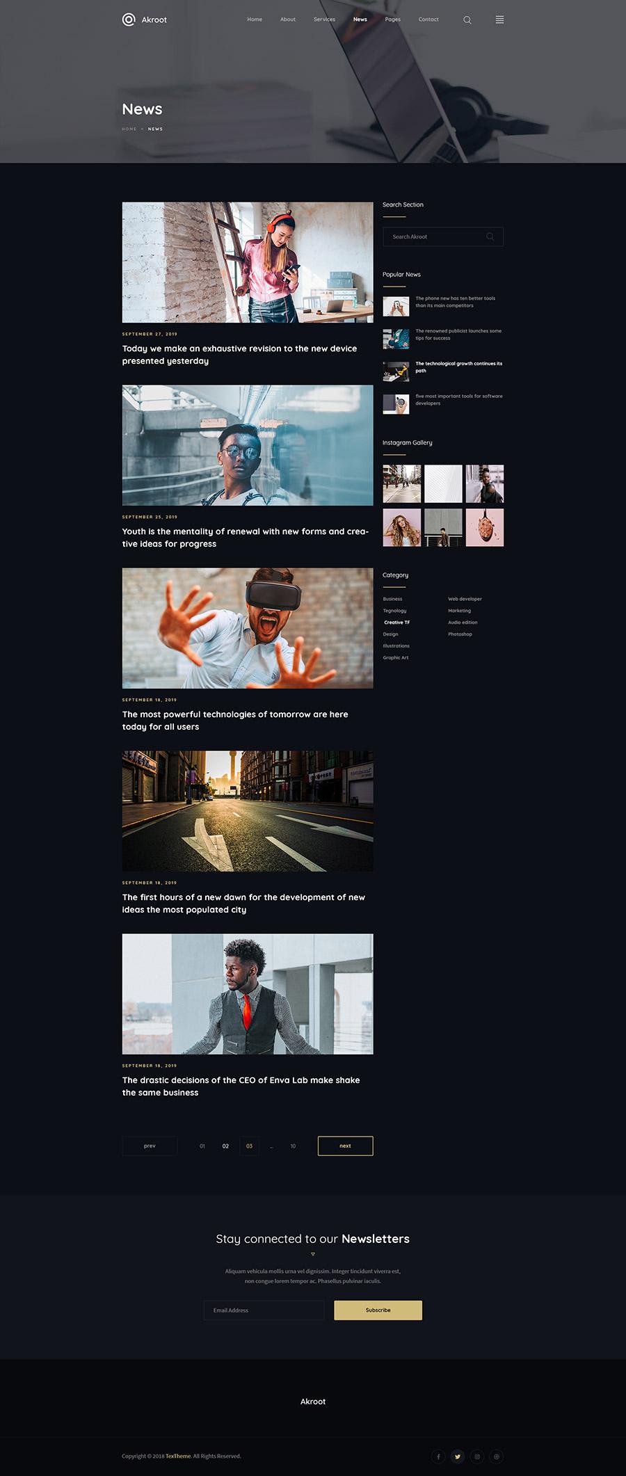 现代专为专业机构和企业设计的高端的高品质PSD网站设计模板akroot-it-is-the-multi-purpose-creative-psd