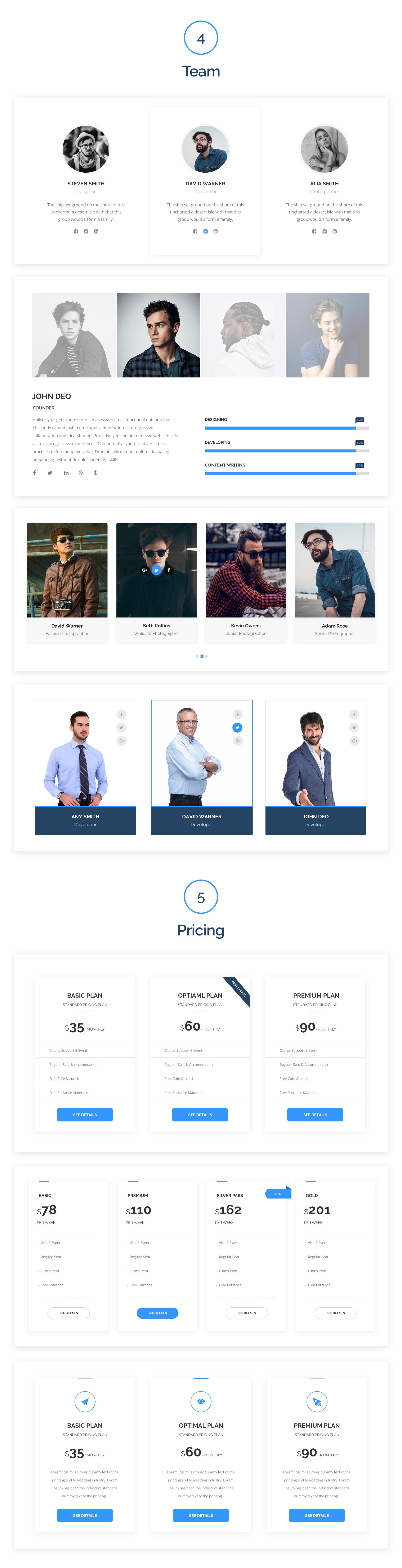时尚高端简约多用途的网站设计web ui kits Power-Web-UI-Kit