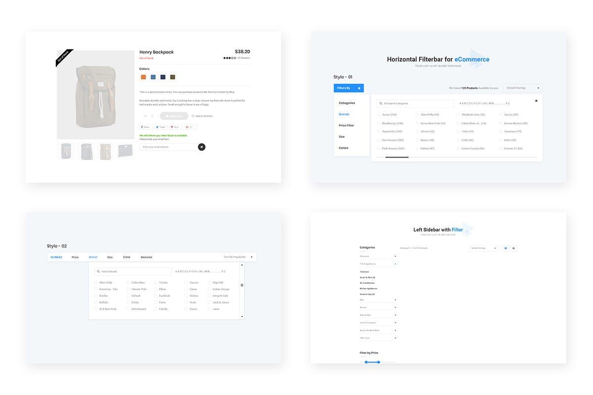 电子商务电商小部件设计模板 10 Ecommerce Widget Design for Web-UI Kit 10个Web-UI Kit