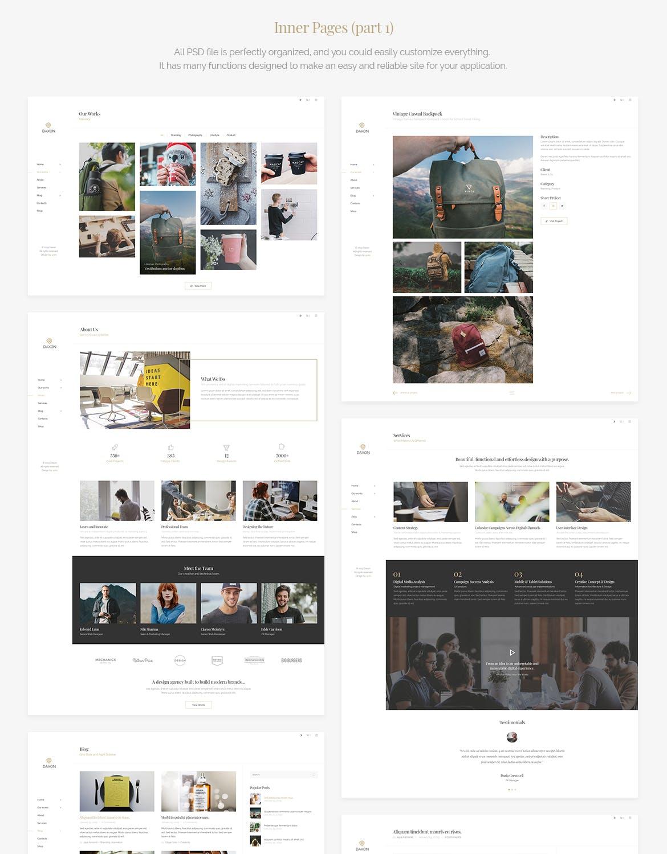 高端优雅时尚的多功能创意专业的网站设计模板(PSD) daxon-agency-portfolio-psd-template