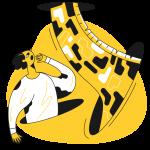 [可商用]黄色脑洞大开创意手绘卡通人物生活场景插画B_taxi插图14