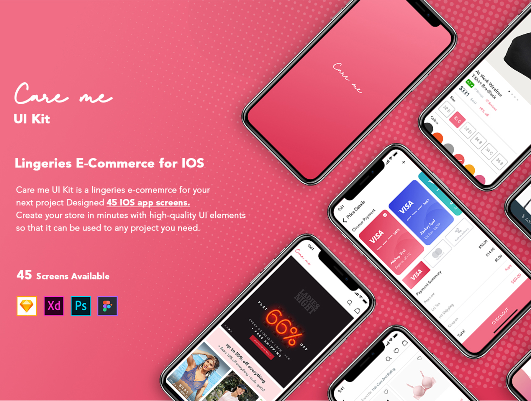 完美的时尚电商APP UI KIT套装下载[Sketch,XD,PSD,Fig] Care me Lingeries Ecommerce UI Kit