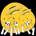 [可商用]黄色脑洞大开创意手绘卡通人物生活场景插画B_taxi插图5