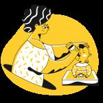 [可商用]黄色脑洞大开创意手绘卡通人物生活场景插画B_taxi插图1