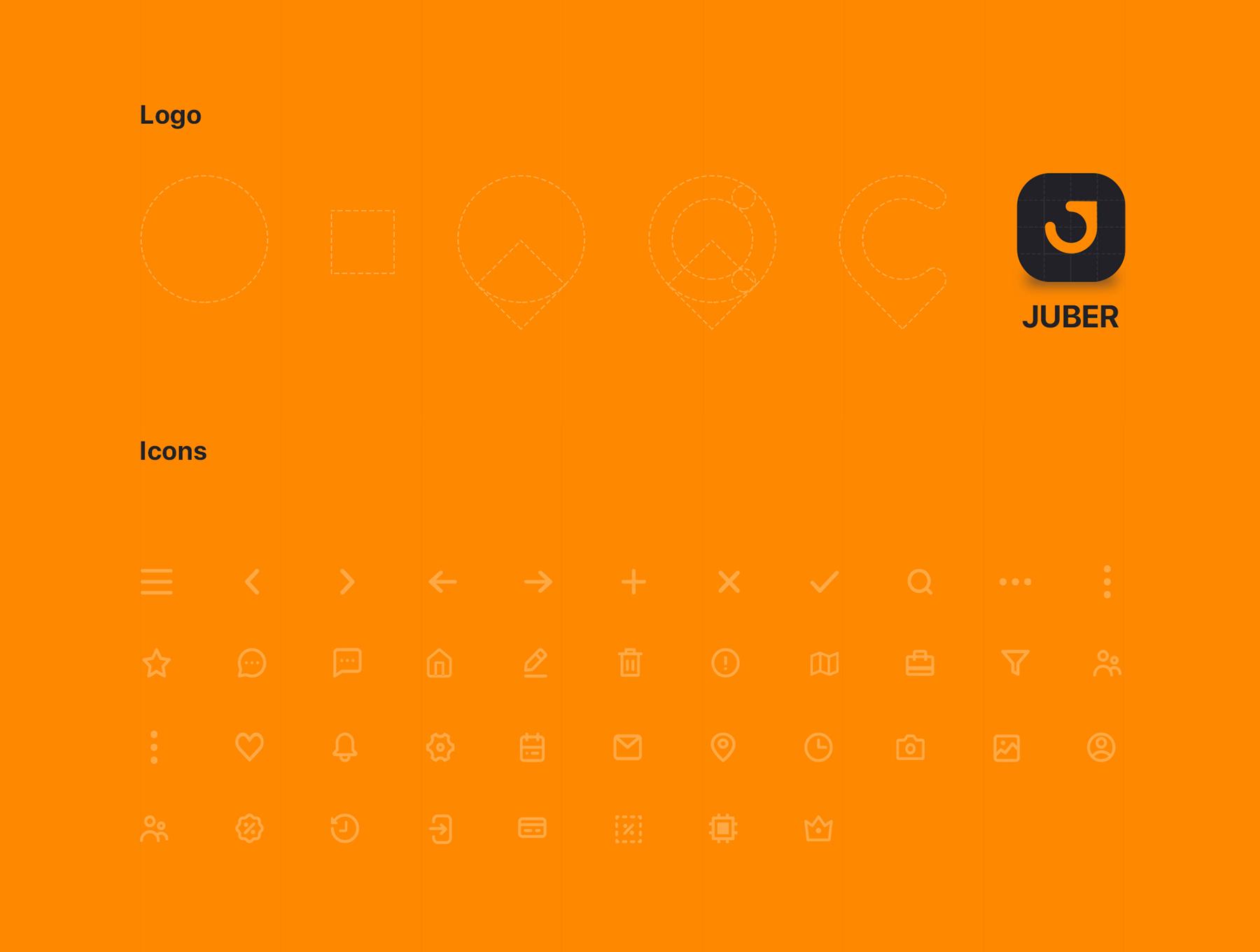 完美的小汽车租赁&打车APP应用UI设计模板[XD,Sketch,Fig] JUBER Car rental mobile UI Kit
