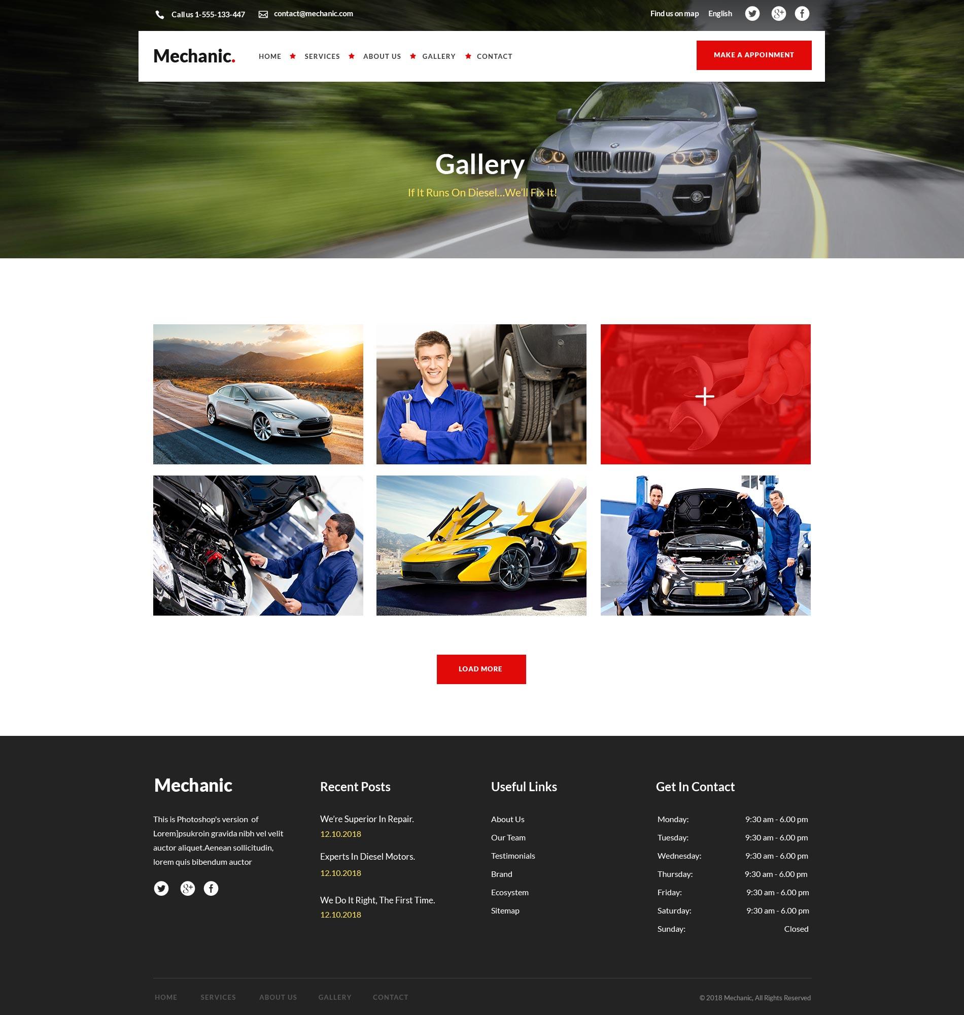 高品质的时尚高端专业的二手汽车维修售后网站租车网站设计模板UI KITS  mekanik