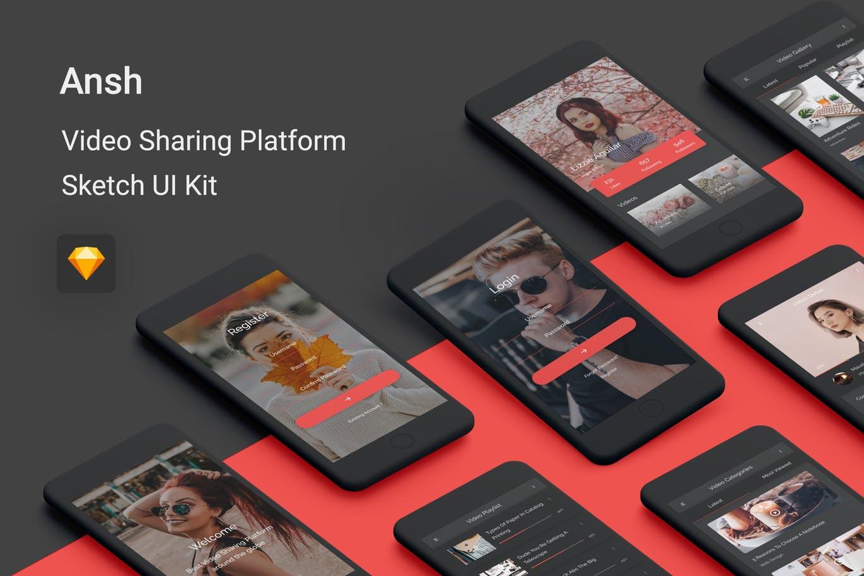 时尚好用的高品质小视频分享平台APP UI KITS(sketch)Package-Ansh-Sketch
