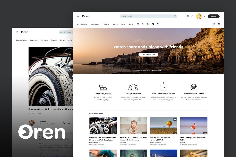 高品质的时尚高端视频分享网站PSD模板UI KITS oren-video-sharing-website-psd-template