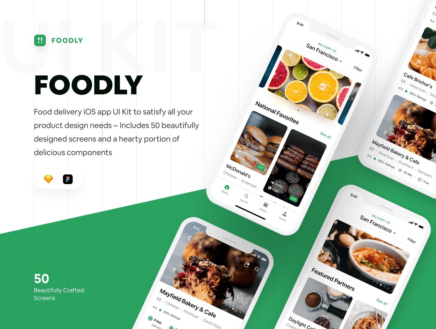 美食APP UI水果在线商城设计外卖APP素材下载[Sketch,Fig]Foodly iOS UI Kit