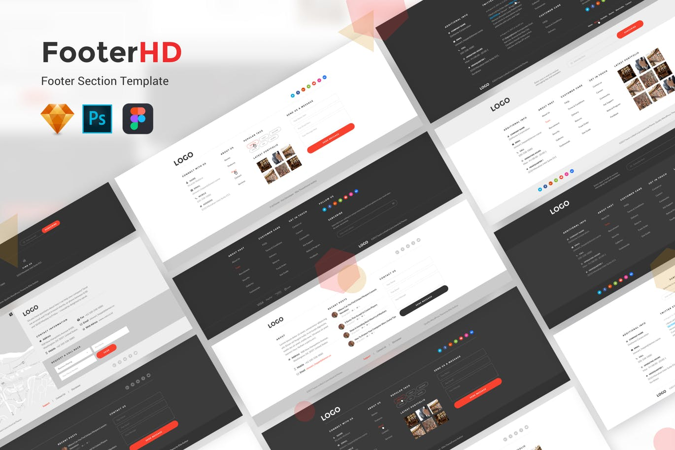 时尚高端多用途的高品质FooterHD 页脚UI KITS工具包 footerhd-footer-ui-kit-template