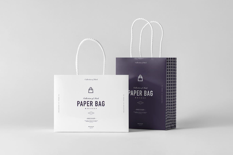 高品质的真实质感房地产纸袋购物袋手提袋VI设计样机展示模型mockups  paper-bag-mock-up-