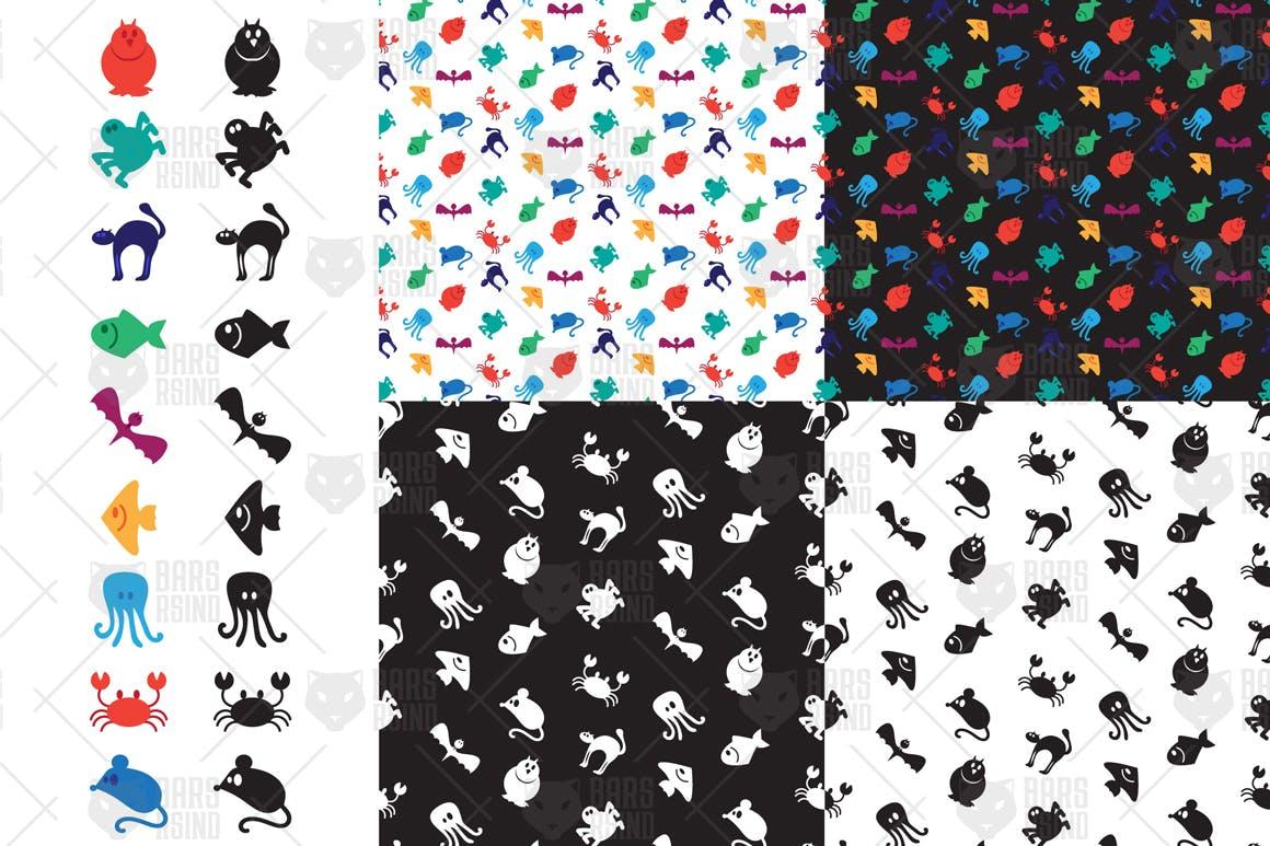 可爱的动物图案背景蝙蝠鸟猫蟹鱼鼠章鱼猫头鹰蜘蛛  Cute Animals Patterns