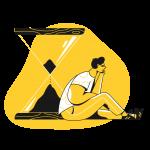 [可商用]黄色脑洞大开创意手绘卡通人物生活场景插画B_taxi插图