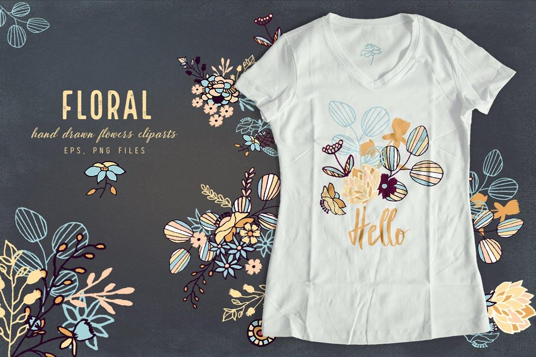 花环花卉剪贴画纹理花纹图案背景Floral Cliparts