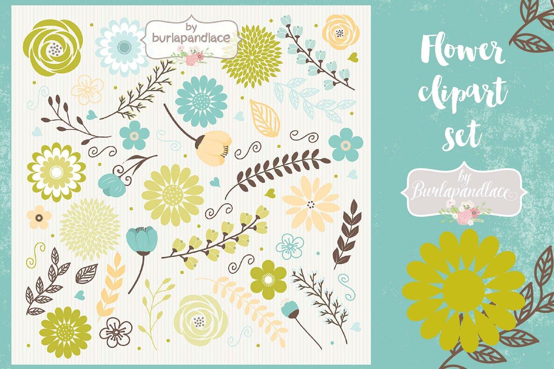 水彩花边剪贴绿,蓝色,布朗纹理背景图案Flower set clipart green, blue, brown