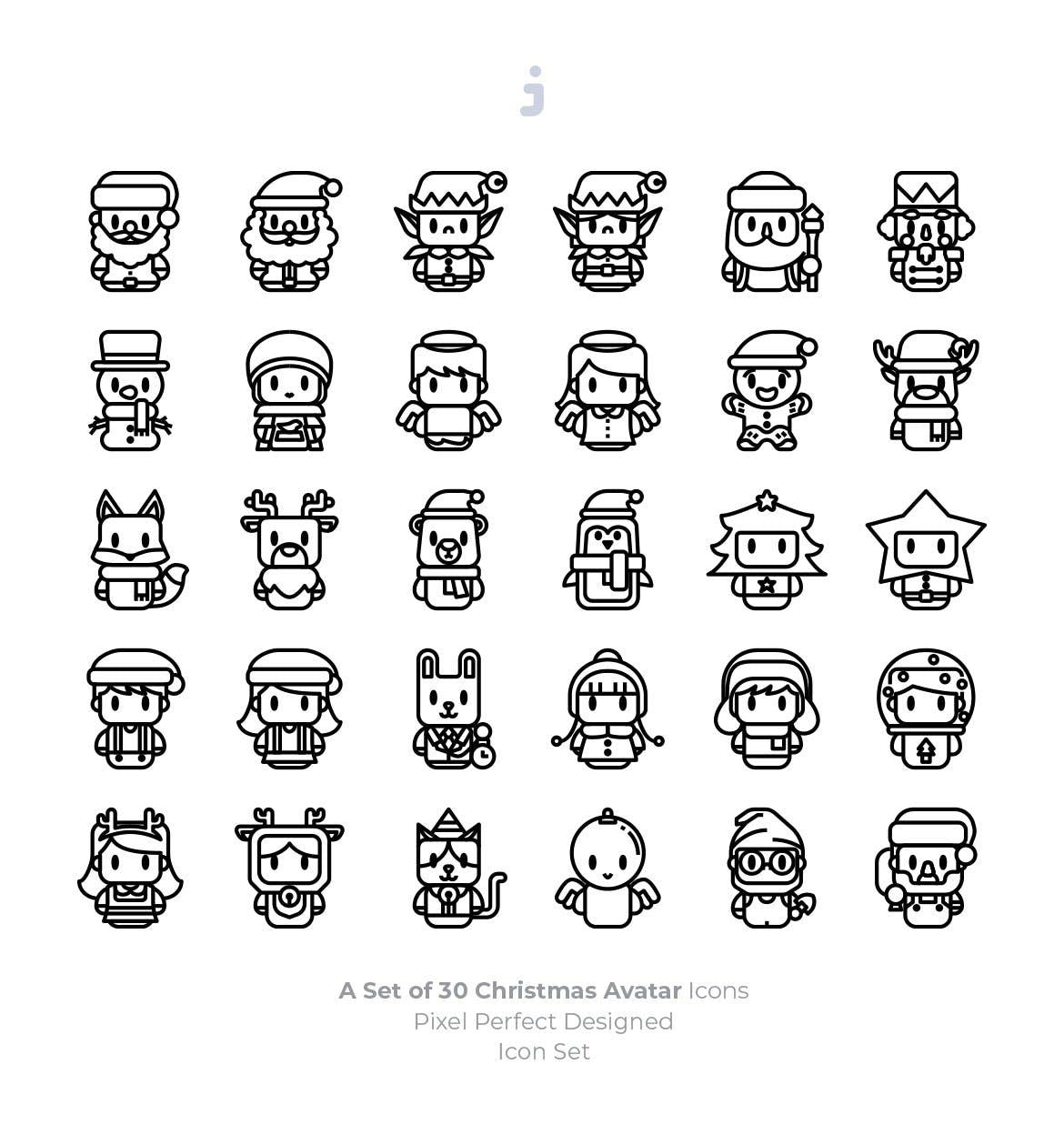 可爱圣诞卡通形象图标设计素材ICON矢量图标[Ai] christmas-avatar-icons-EX5C67B