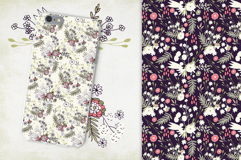 精美的鲜花纹理花纹图案背景 Delicat Flowers