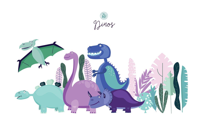 可爱手绘恐龙插图背景动物纹理卡通图案Dinos Illustrations