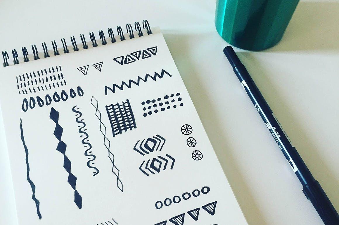 抽象创意手绘纹理民族无缝图案背景矢量模式  Ethnic Seamless Vector Patterns